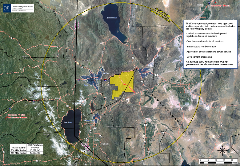 TRI Center - 50-Mile Radius: Twelve miles of I-80 forms the northern border of Tahoe Reno Industrial Center with US 50 just miles from the southern border. While the park has small sections in two other counties (Washoe and Lyon) its landmass equates to 65 % of Storey County. Just the first phase of TRI Center is made up of 5,000 acres that will accommodate 100,000,000 square feet of industrial product. As a point of reference, the largest nearby market, Reno/Sparks (shown in blue on the map), currently has 55,000,000 square feet of developed industrial space. The Tahoe Reno Industrial Center in just Phase One is capable of doubling the Reno/Sparks industrial building market. Today, there are three phases (15,000 acres) complete and ready to go with all of the utilities and infrastructure to support any type of commercial development. Within the 50-mile radius shown on the map you will see that based on the 2010 census, we have roughly 660,000 people. To give you an idea of the logistics behind our location